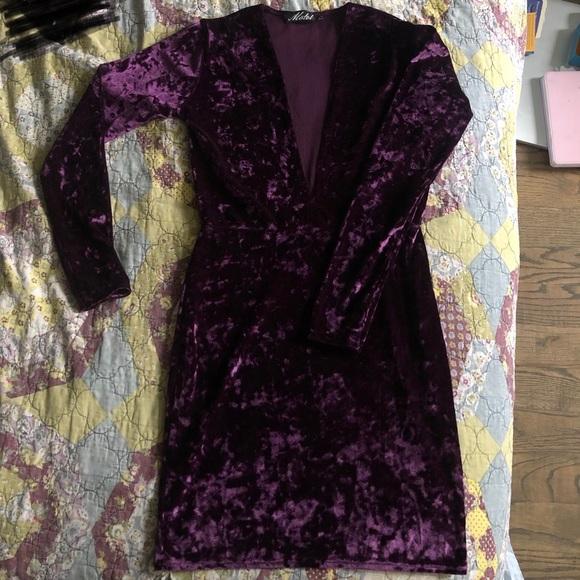 ASOS Dresses & Skirts - ASOS Crushed Velvet Deep V Bodycon Mini Dress